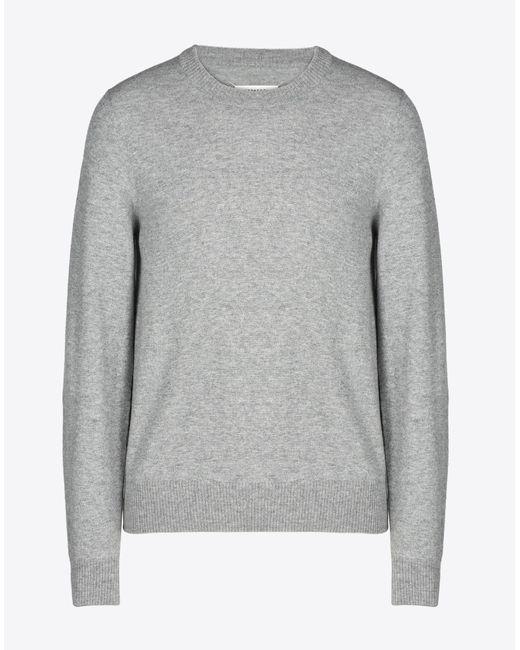 メンズ Maison Margiela ウールセーター エルボーパッチ付き Gray