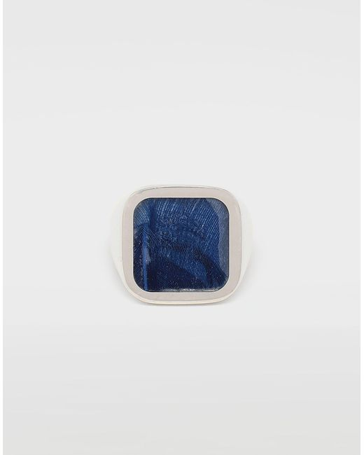 Maison Margiela Metallic Feathered Ring In Blue for men
