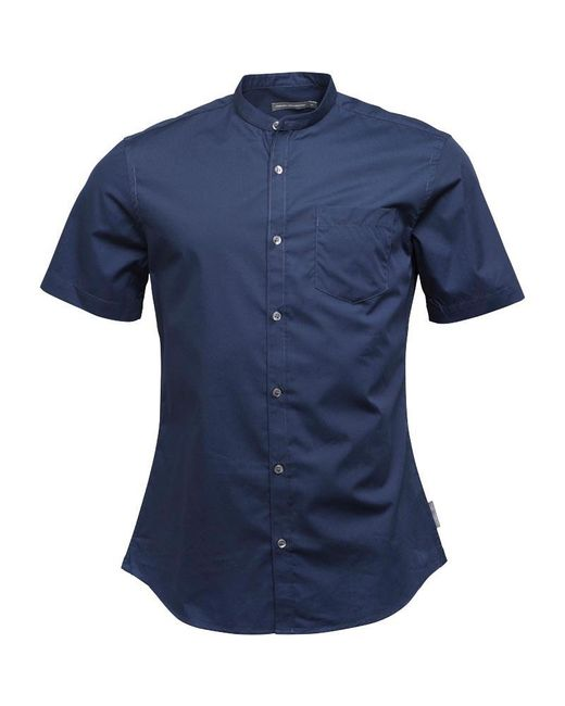 French Connection Plain Henley Short Sleeve Shirt Blue for men