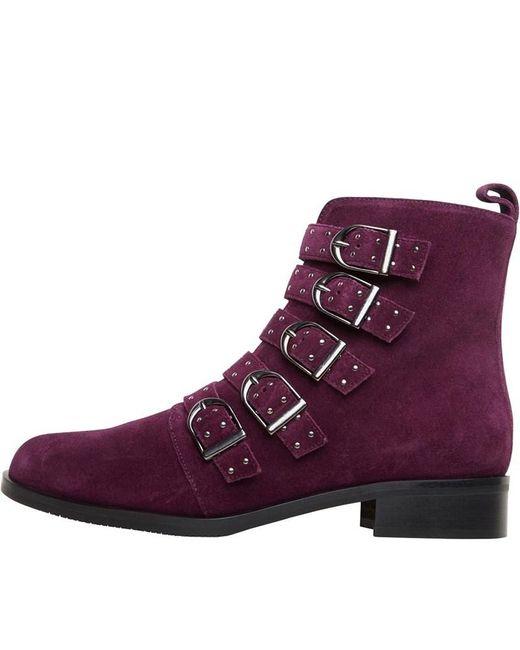 Karen Millen Purple Bronte Alice Suede Ankle Boots Burgundy