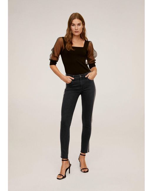 Mango Skinny Sparkle Jeans Black Denim