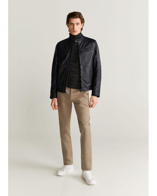 Mango Black Nape Biker Jacket for men