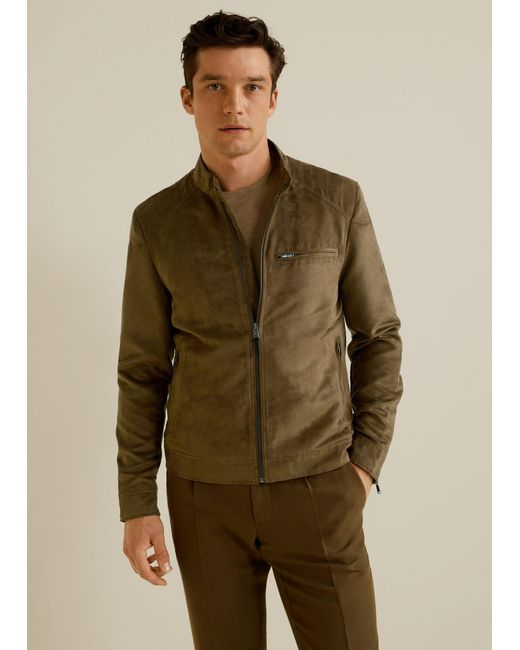 sale uk new authentic really comfortable Mango Faux-suede Biker Jacket in Brown for Men - Lyst