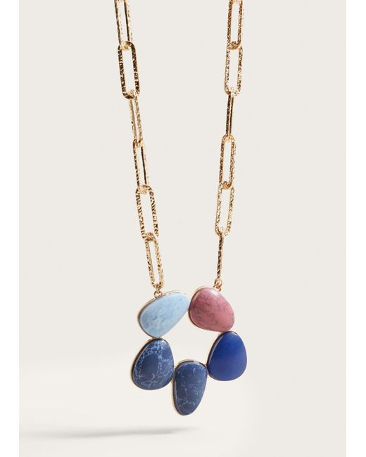 Violeta by Mango | Metallic Stone Chain Necklace | Lyst