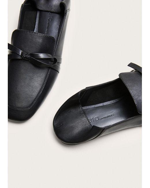 ec4684f337a ... Violeta by Mango - Black Bow Leather Loafers - Lyst ...