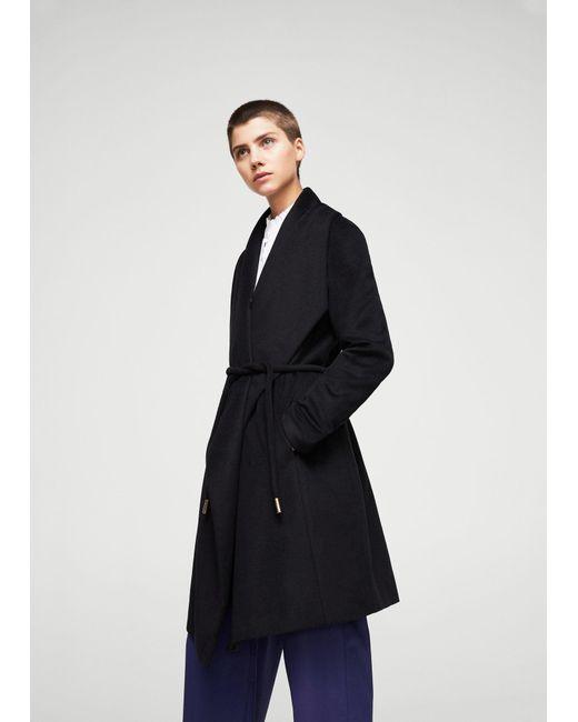 Mango   Black Wraparound Wool-blend Coat for Men   Lyst