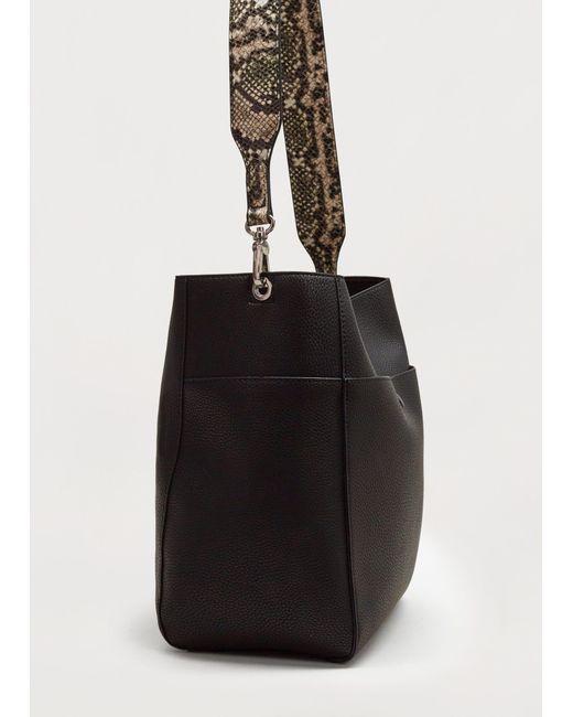 Violeta by Mango | Black Monochrome Snake-effect Bag | Lyst