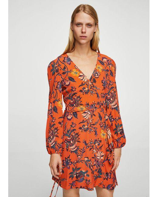 Mango | Orange Floral Wrap Dress | Lyst