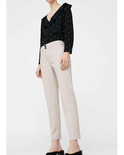 Mango | Gray Straight-cut Crop Trousers | Lyst