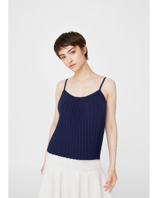 Mango | Blue Pleated Strap Top | Lyst