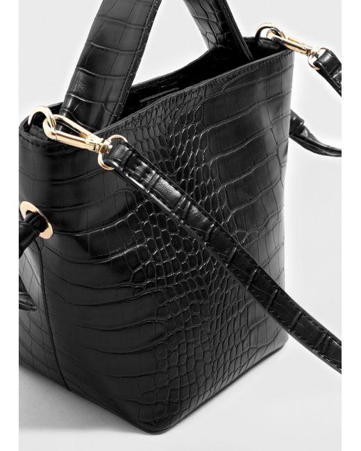 Violeta by Mango   Black Croc-effect Tote Bag   Lyst