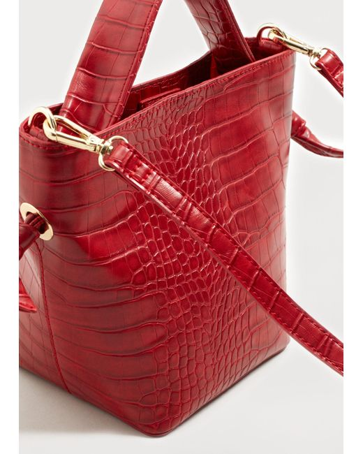 Violeta by Mango | Red Croc-effect Tote Bag | Lyst