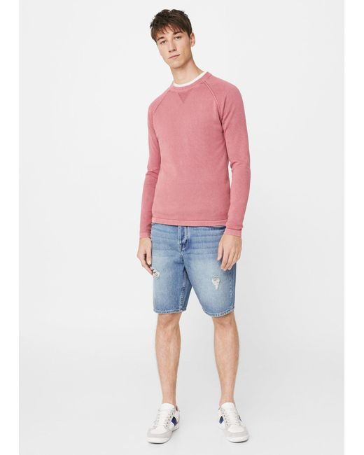 Mango   Pink Textured Cotton Sweater for Men   Lyst
