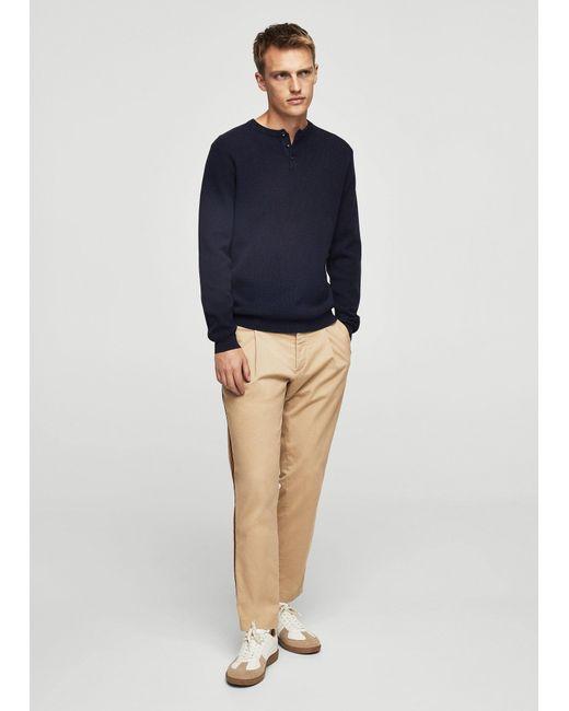 Mango   Blue Textured Cotton Sweater for Men   Lyst