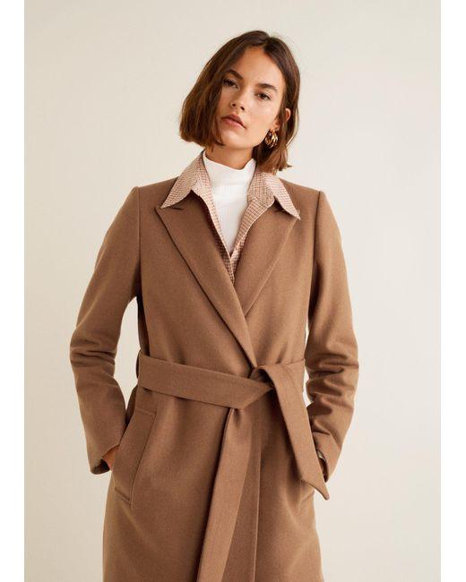 Mango - Brown Structured Wool Coat - Lyst