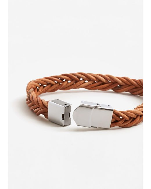 Mango | Brown Leather Braided Bracelet | Lyst