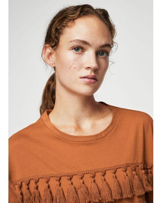 Mango | Orange Pom Pom Cotton T-shirt | Lyst