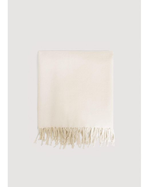 Mango - White Fringes Knit Scarf - Lyst