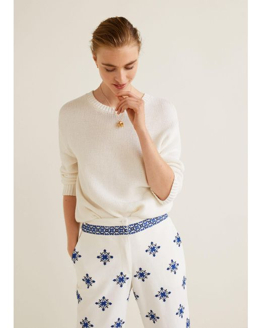 Mango - White Embroidered Cotton Trousers - Lyst