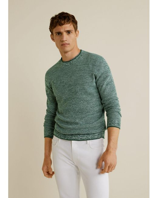 Mango Green Flecked Structure Cotton Sweater for men