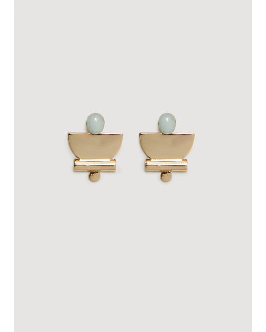Mango - Stone Metallic Earrings - Lyst