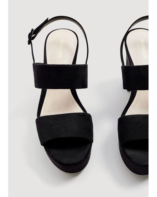 bd58f89259 Lyst - Mango Platform Leather Sandals in Black - Save 40.67796610169491%