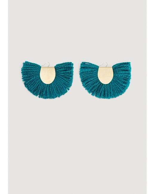 Mango - Blue Fringe Earrings - Lyst