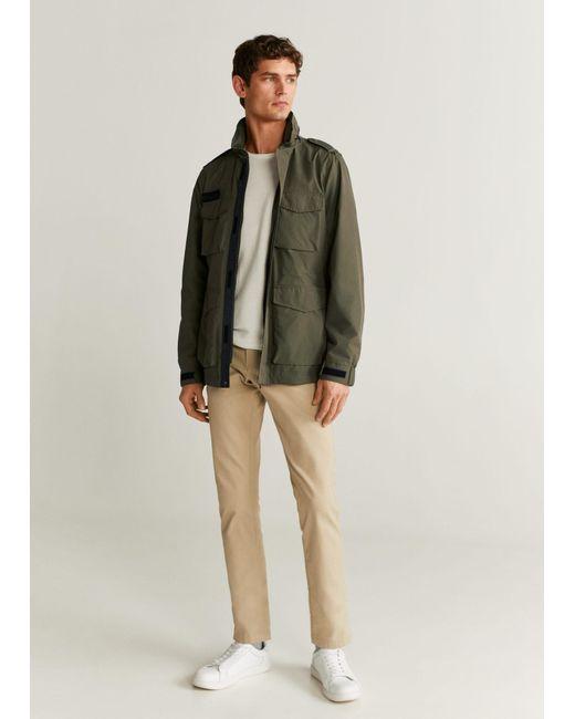 Mango Natural Concealed Hood Field Jacket Khaki for men
