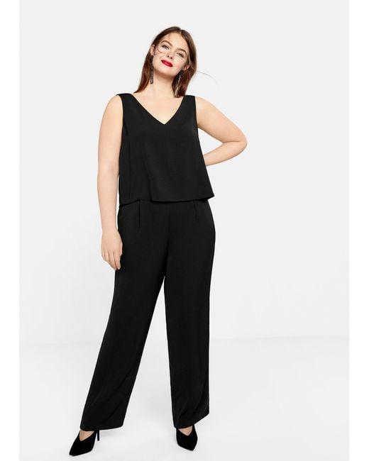 72c6fd78ed6e Violeta by Mango - Black Doble-layer Jumpsuit - Lyst ...