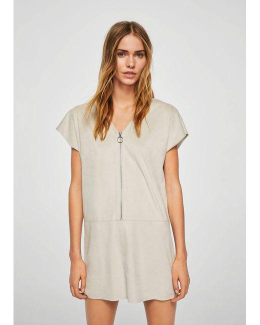Mango - Gray Zipped Dress - Lyst