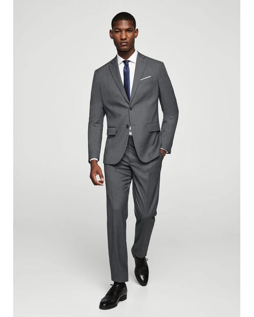 Mango | Gray Slim-fit Patterned Suit Trousers for Men | Lyst