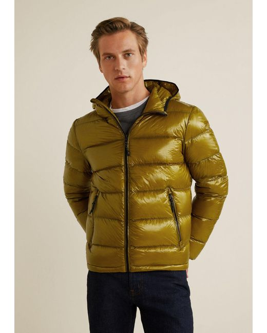 Mango - Green Quilted Down Anorak for Men - Lyst