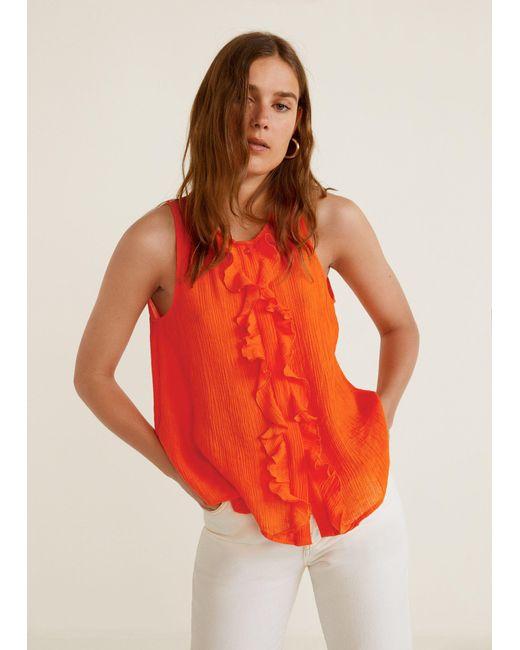 Mango - Orange Ruffled Texture Top - Lyst