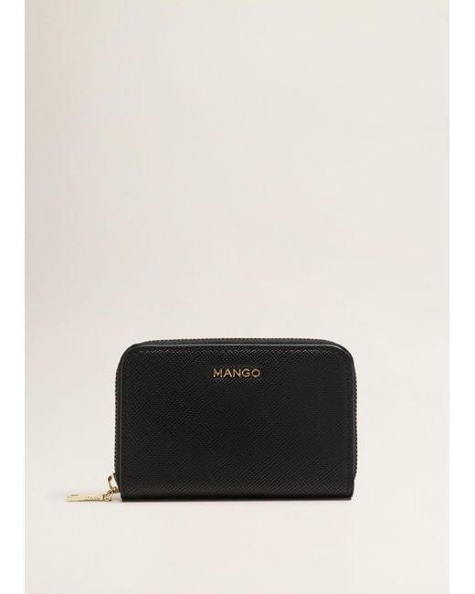 Mango - Black Zip Pebbled Wallet - Lyst