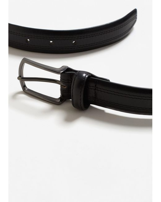Mango | Black Stitched Leather Belt for Men | Lyst