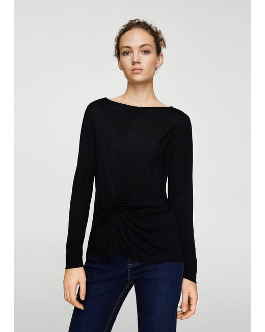 Mango - Black T-shirt - Lyst