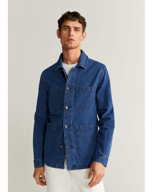 Mango Dark Wash Denim Jacket Dark Blue for men