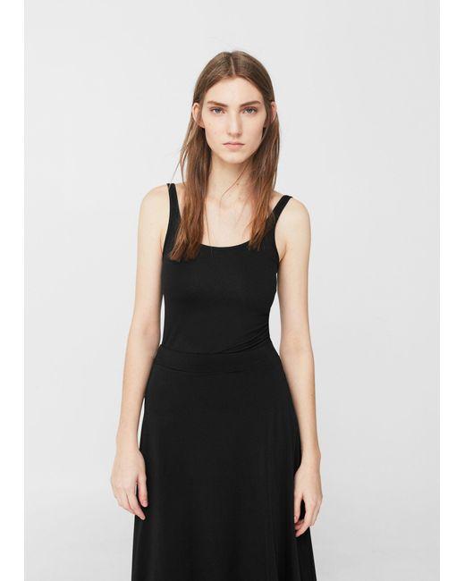 Mango | Black Strap Cotton T-shirt | Lyst