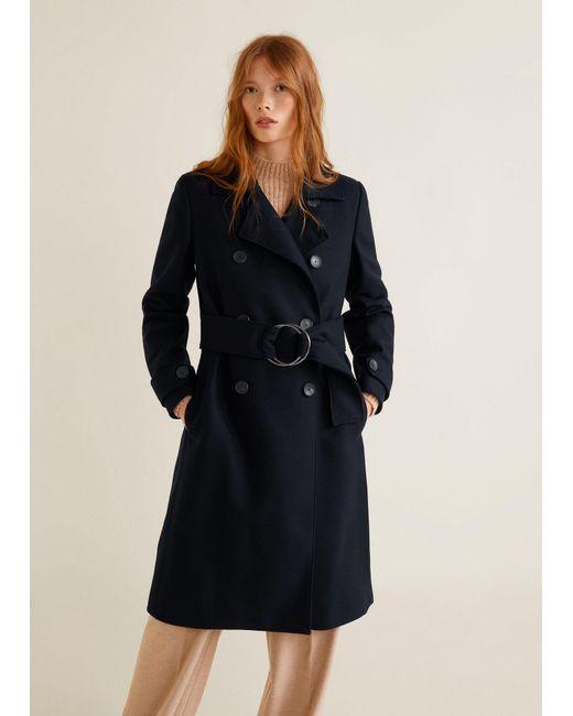 Mango - Blue Belted Wool Coat - Lyst