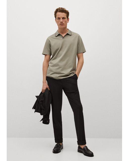 Mango Gray Technical Cotton Polo Shirt for men