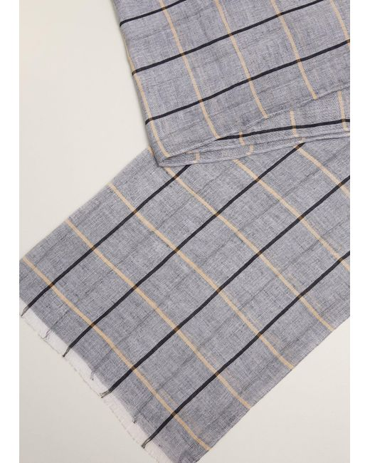 Mango - Blue Checked Linen Cotton Scarf for Men - Lyst