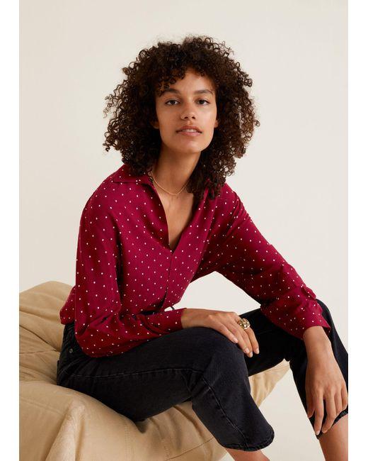 Mango - Red Printed Flowy Shirt - Lyst