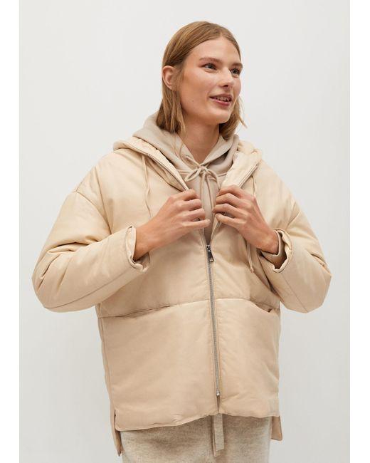 Mango Natural Leather Padded Coat