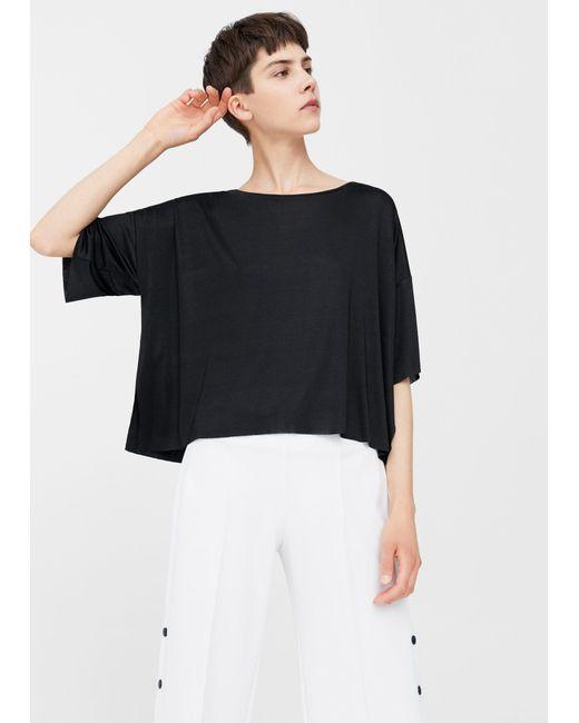 Mango   Black Fine-knit T-shirt   Lyst