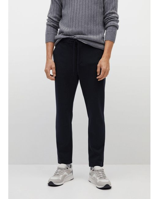 Mango Blue Comfy Slim-fit Trousers for men