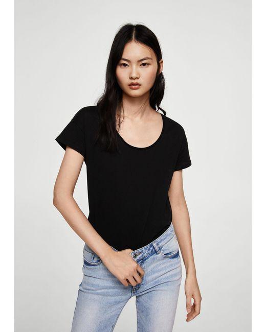 Mango - Black Organic Cotton T-shirt - Lyst