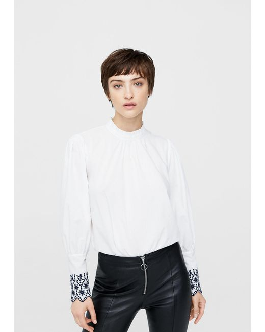 Mango | White Decorative Embroidery Blouse | Lyst
