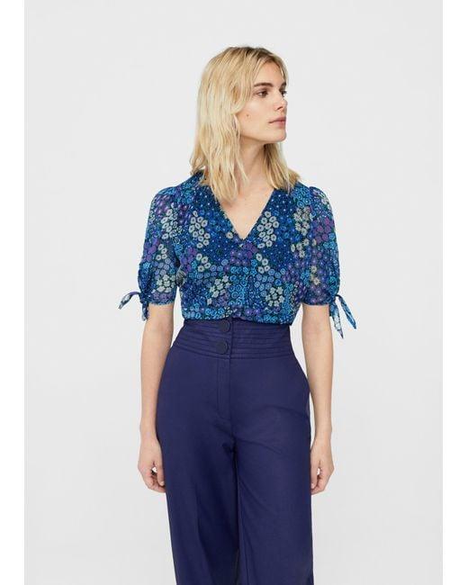 Mango | Blue Floral Print Blouse | Lyst