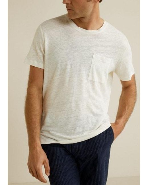 b566d7e1f314 Mango Pocket Linen-blend T-shirt White in White for Men - Lyst