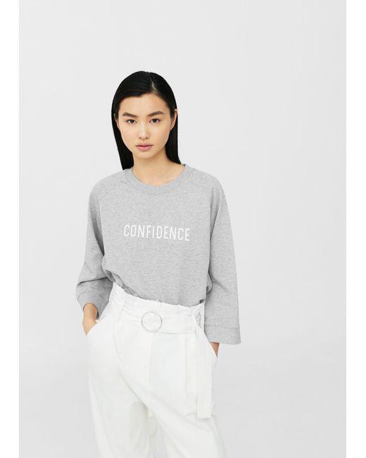 Mango | Gray Cotton-blend Message Sweatshirt | Lyst